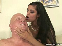 Naughty young brunette fucking with a fat grandpa