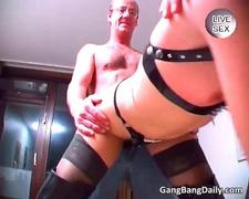 Pain lover slut in long boots getting