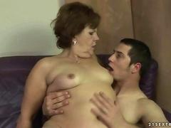 Lusty fat granny fucking with her sexy and hot boyfriend