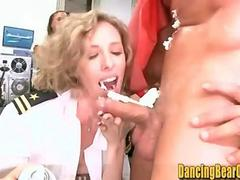 Messy Office Birthday Party with Whipped Cream and Cock