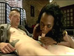 Lusty and busty black tranny seduction