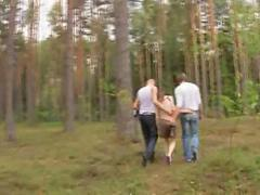 Amateur french threesome in the forest segment