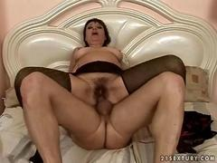 Granny in her pantyhose gets fucked hard and deep