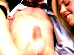 CFNM blondes tug their stud on their couch togther