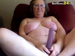 Fat ugly grandma uses sex toys to masturbate