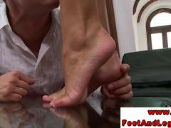 Victoria Blaze gets her feet worshipped before giving footjob