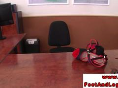 Vanda Lust in the office using feet before hardcore