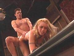 Wild blonde babe fucks for an audience