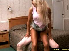Cfnm blonde jerks off and fucks cock