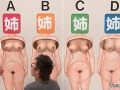 Sexy Asian sluts get their boobs rubbed at a game show