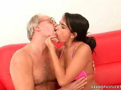 Old man knows what her cunt needs