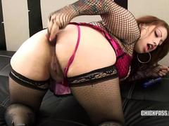 Latina plumper Poison fucks her ass with a dildo