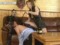Two mistresses destroying a sex slave