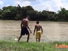 Latino gay mates get down and dirty after a swim