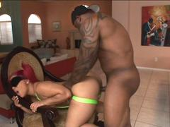 Black BBW chick shows off her impressive ass before a bbc ravages her totally