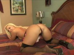 Nasty black guy fucks this amazing blonde babe in her both holes and delivers a nice anal creampie