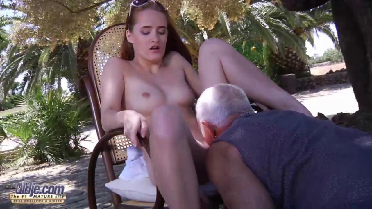 old guy lick young girl boob