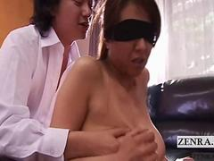 Subtitled blindfolded Japanese wife salacious group sex