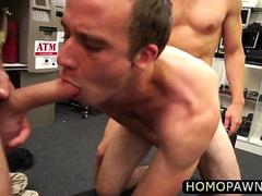 Fitness trainer guy gets his anal nailed by two large cock