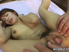 Very cute Asian sluts gets dildo masturbated