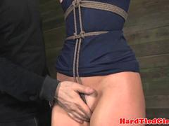 Over arm tied india summer tit torture video