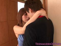 Awesome japanese teen babe fucking at home