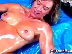 Muscled Milf with huge clitoris