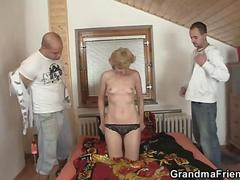 Two Boy fucks a hot granny pretty hard in her vagina