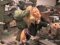 Cute naughty blonde slut gets a full hard pussy service at her local garage