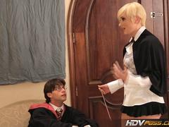 HDVPass Tight blonde Nora Skyy shows off her blowjob skills