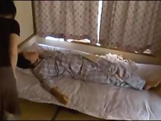 Japanese wife gets fucked on a table