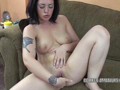 Brunette coed Melina Mason finger bangs her tight twat