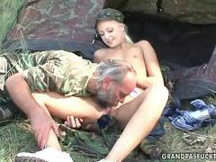 teen is sexing with the horny old dog