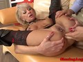 Pierced pussy mature in anal affair
