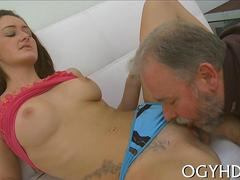old guy inserts cock in  hole feature