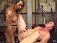 Latex TS Domme Seduces Dungeon Slave