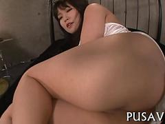 Big ass Asian babe fingered and fucked by a lucky dude