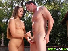 Hottie gives firm handjob