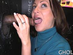 Brunette whore with big boobs facialized through a glory hole