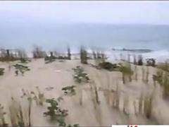 Horny teen amateur jerking dick and fucking at the beach