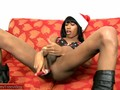 Black tranny in lingerie waits for Santa