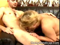 Leg amputee blonde cougar gets lucky with a young stud