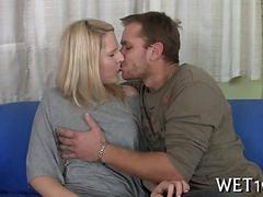 White trash couple making out and fucking on the sofa.