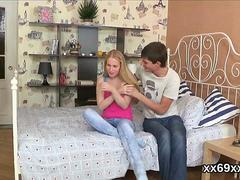 Physician assists with hymen examination and defloration of virgin cutie