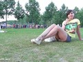 Jeny Smith pussy flash in a park