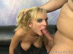 Geneva skinny blonde gags on dick