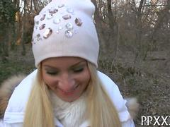 Green eyed Hungarian blonde paid for sex in the woods