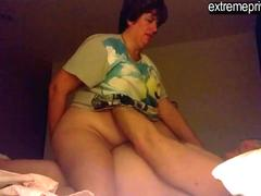 spying mature BBW latina Andrea with BF