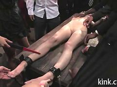Slave girl humiliated and fucked at a public bondage party