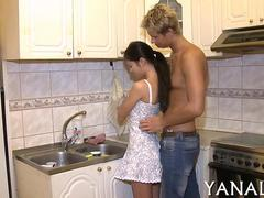 Amateur Russian teen fucked hard on a kitchen counter
